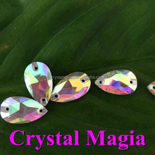2015 cheap teardrop crystal sew on rhinestone, crystal flat back sewing strass