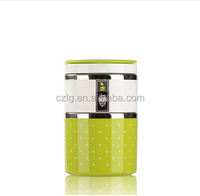 two layer stainless steel keep food warm lunch box with PP outer