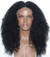 100% Virgin Human Hair Glue Less Full Lace Wig Long Afro Kinky Curly Wigs