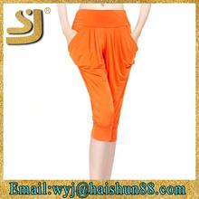 latest design three quarter street style woman harem pants