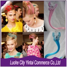 T Stage show Butterfly Clip Hair Extension, High Light Synthetic Butterfly Fashion Clip Hair