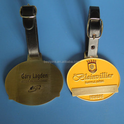 unique oval metal golf luggage tag personalized golf club leather belt bag tag