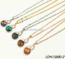 Large size crystal quartz pendant necklace fashion gold jewelry
