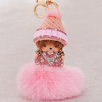 Soft 3D cute girl design your own keychain, plush kids doll plastic lock key chain, phone/bags charms Stuffed key ring toy