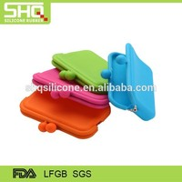 Factory bulk wholesale fashionable cusom logo silicone rubber candy color coin purse for promotion
