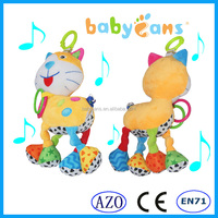 2015 New Hanging Crib Baby Toys Musical Hand bell Cat Plush Toy