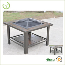 Treasures square outdoor metal fire pit table with tiles