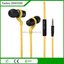 high end deep bass earphone flat wire metal earphone