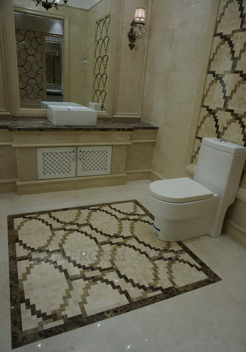 MPC0001-G01A Moreroom Stone Spanish Beige Marble Crema Marfil Black Stone Nero Marble Light Emperador Marble Mosaic Tiles Home Marble Flooring Mosaic Bathroom Design Mosaic Medallion Inlay Marble Tiles-5.jpg