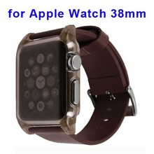 Leather band and Crystal Clear Transparent Hard Case for Apple Watch Case Cover