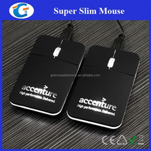Matt Black Wired Optical Slim PC Mouse with Laser Engraved Logo