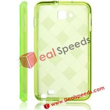 Stylish Rhombus Pattern TPU Phone Cover for Galaxy Note i9220(Grass Green)