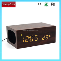 sound control wooden clock Bluetooth Speaker,Latest design wooden speaker, mp3 speaker with wirless charger