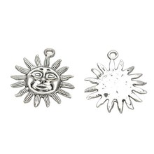 Wholesale Antique Silver Plated Brass Big Sun Sunshine Circle Charm 17.3mm Pk1000