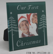 2015 New Design Romantic First Christmas Tree Glass Picture Photo Frame For Home Holiday Gifts