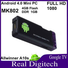 mk802 android 4.0 mini pc smart tv box HDD Player Allwinner A10 A10S RAM 1GB, ROM 4GB Uhost China Manufacturer Supply
