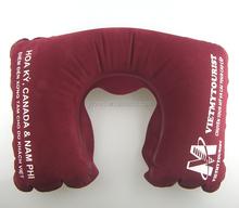 PVC flocking print private logo branding inflatable neck pillow