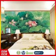 Brand New Comfortable Design Living Room Decorative Lotus Flower Pattern Wallpaper For Interior Design