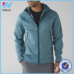 Yihao 2015 Men's 100% Cotton Winter Thick Hoodie Custom Fleece Fabric Zip-up Blank Hoodie with Hood