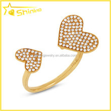14K yellow gold pave cz diamond 2 double heart open cocktail statement ring