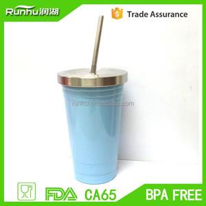 Alibaba China 16 oz doble pared inoxidable de starbucks vaso con tapa y paja