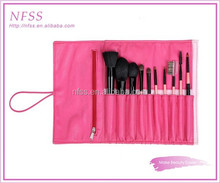 Professional brush factory cosmetic brush 10pcs goat hair pink makeup brush pouch
