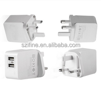 Hot Sales High Speed UK 3.1A dual usb wall Travel Charger
