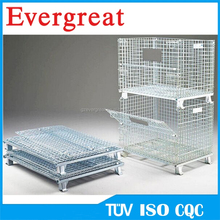 storage metal cage stacking container/Industrial folding metal steel storage cage