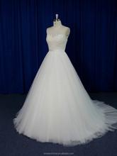 New model dot net sheer with beads belt waist A-line guangzhou wedding dress 2016