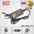 24v 2.5a 600w de alta eficiencia de la caja de metal led de protección del transformador de salida de corriente adaptador de ca