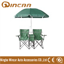 Metal Material and Yes Folded Double seat camping folding chair with umbrella
