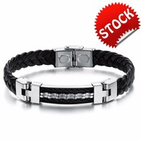 Handmade PU Leather Bracelet Silver ID Nameplate Strip Rope weave Bracelet for men
