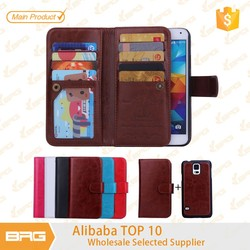 BRG Multi-function wallet Leather Flip Cover Case for Samsung S5 with 9 credit card slot