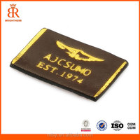 High quality newest embossed printed leather patch for famous clothing