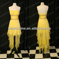 2014 Hot Selling Beaded A Line Strapless Pleated Chiffon Hi Lo Mini Short Prom Dresses Cocktail Gowns LF06