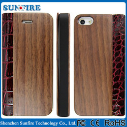 Genuine Leather wood flip cover case for iPhone 5 /5s, for iphone 5s cases and cover
