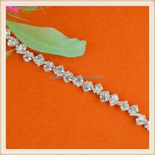 Graceful beaded wholesale bridal crystal rhinestone trimming for wedding dresses /child dress