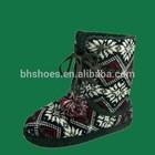 Bh095553 interior chinelo boot com laço- up pom- poms