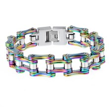 Fashion jewelry stainless steel colorful biker chain bracelet