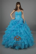Suzhou Alibaba China Real Images Royal Blue Quinceanera Dress Organza Sweetheart Ruffle Beaded Prom Gown HMY-S132