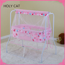 Manufacturer Portable Lightweight Swing Baby Bed with Mosquito Net and Storage Basket Rocking Bed for Baby Cradle TC-2011