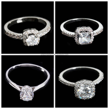 Wholesale Copper Brass Material Zircon Paved Different Types18K White Gold Diamond Ring for Women
