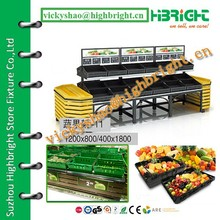 vegetable and fruit stand with 2 end display table rack