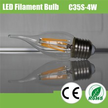popular decorative C35 4W dimmable filament led bulb with high CRI, LED filament lamp
