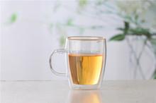 Âmbar pirex de vidro de parede dupla canecas de café com punho