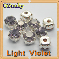 ss22 Light Violet color round pointed back sew on bling rhinestones