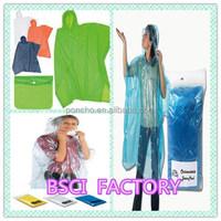 Present price discount PE /PVC/PEVA/POLYESTER rain poncho BSCI
