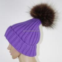 2015 Beanie Winter Hat Vogue Cap Female Racccoon Fur Ball Hats For Women Cheap Knitting Wool Warmer Beanies