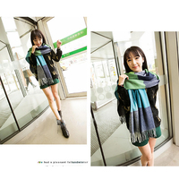 Wholesale new arrival color stitching fashionable spandex material women's big plaid shawl scarf girl
