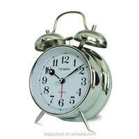 Metal alarm prartical clock with little bulb for promotion gift